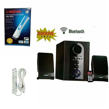 Ampex AMPEX SPEAKER SYSTEM BLUETOOTH,FM,SB/USB 8800WATTS free Nova Shaver and 4way extension