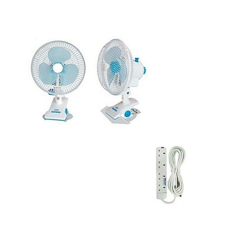 Fan Clip And Table Fan with free 4 way extension - White/blue