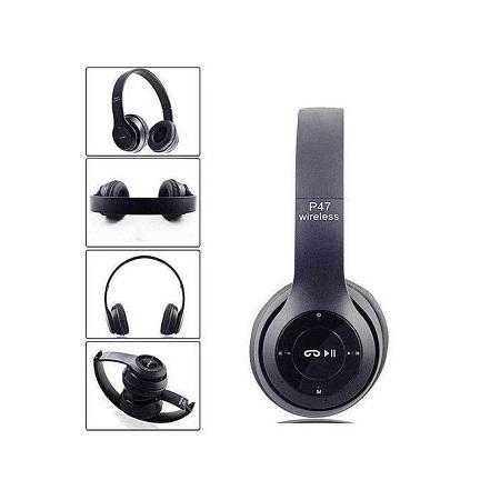 P47 Bluetooth Headphone Wireless Earphone Hands Free Music Headset-Black