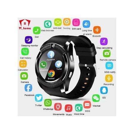 V8 Waterproof Bluetooth Smart Watche With CamFitness Bracelet - Cool Clock Support - TF Card Facebook - Whatsapp - Black