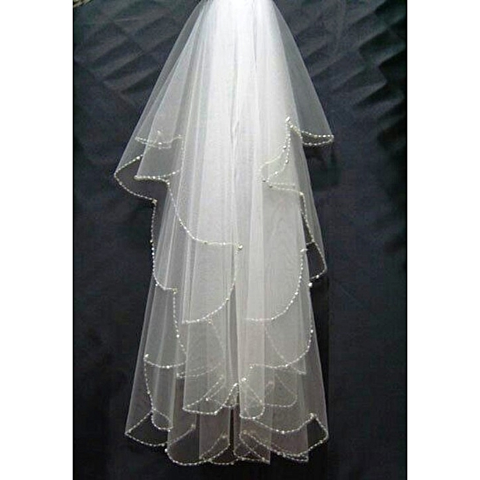 Generic Off White Ivory Two Layer Wedding Veil With Sparkling Seed Beads Scalloped Edge Waist Length Wedding Veil Two-tier Fingertip Veils Cut Edge crystal beads
