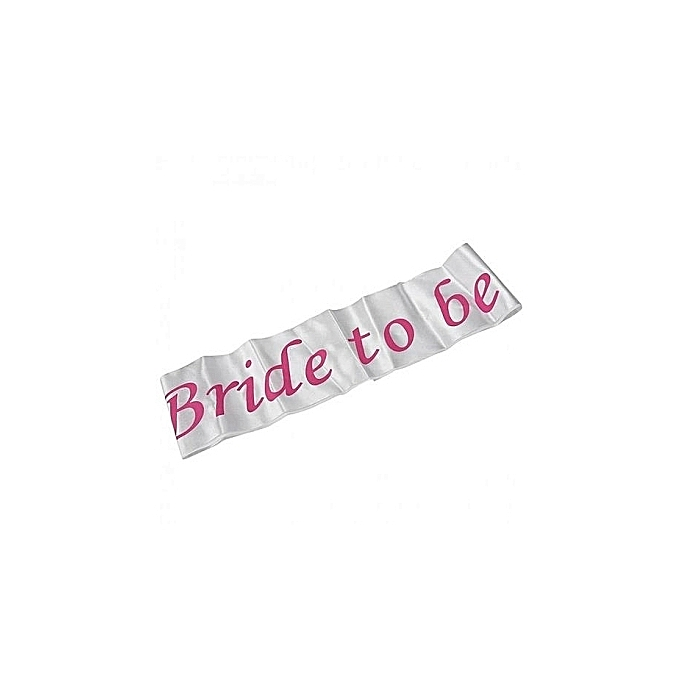 Generic Pink Bride To Be Shower Sash White & Pink Bride To Be Sash Girls Hen Night Bachelorette Bridal Shower Party