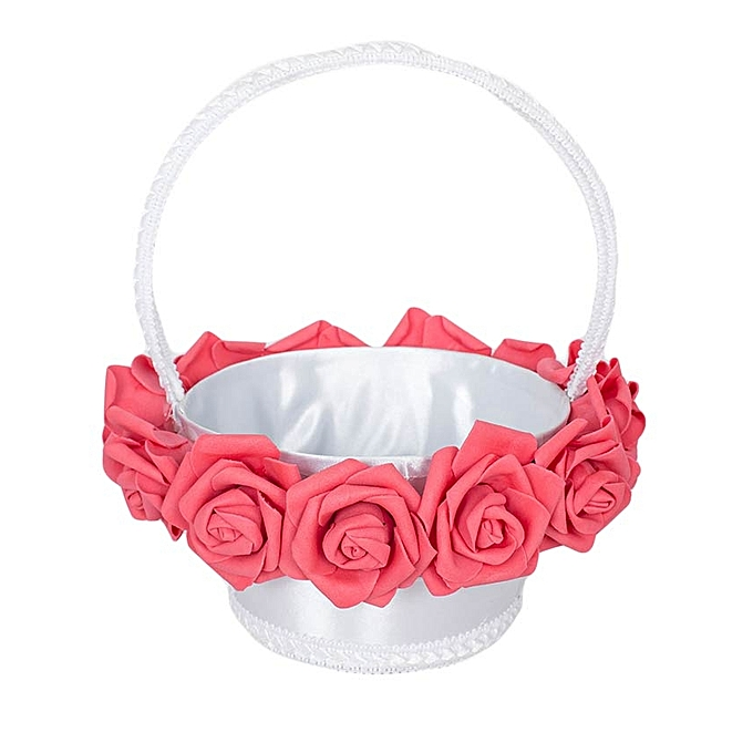 Generic White & Peach Petal Flower Girls Basket