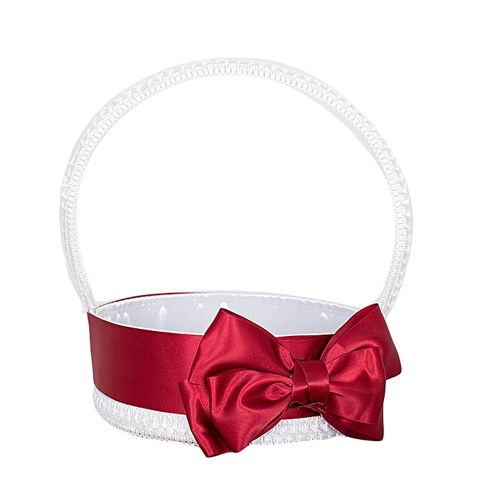 Generic White And Burgundy Bow Matt Satin Flower Girls' Basket