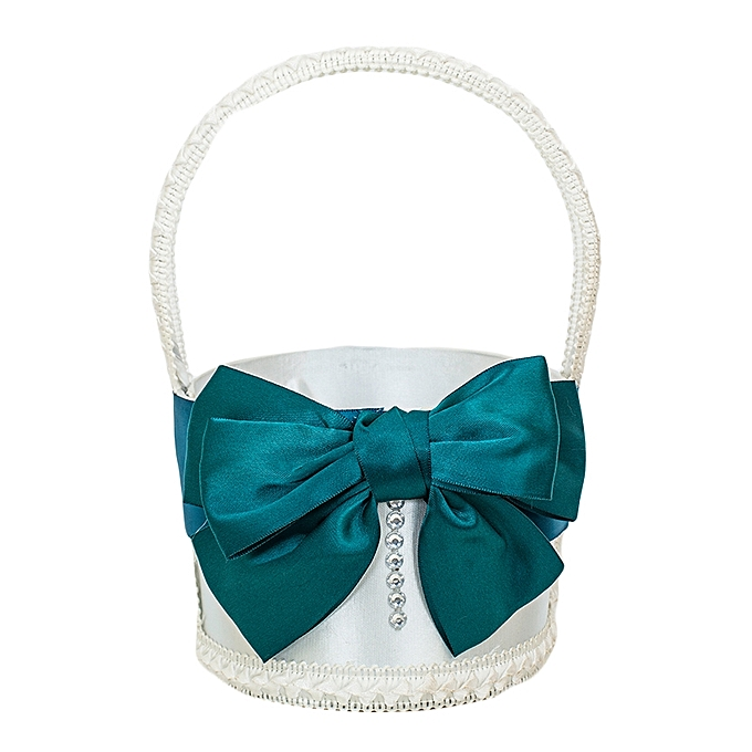 Generic White With Teal Ribbon Flower Girl Basket