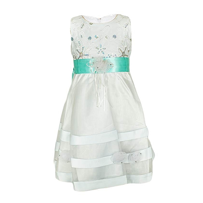 Generic White Girls' Dress With An Aqua Green Ribbon Belt