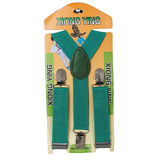 Generic Green Jade Kids Boy Girls Toddler Clip-on Suspenders Elastic Adjustable Braces