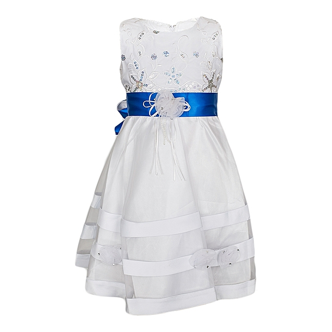 Generic White Girls' Dress With An Electric Blue Ribbon Belt