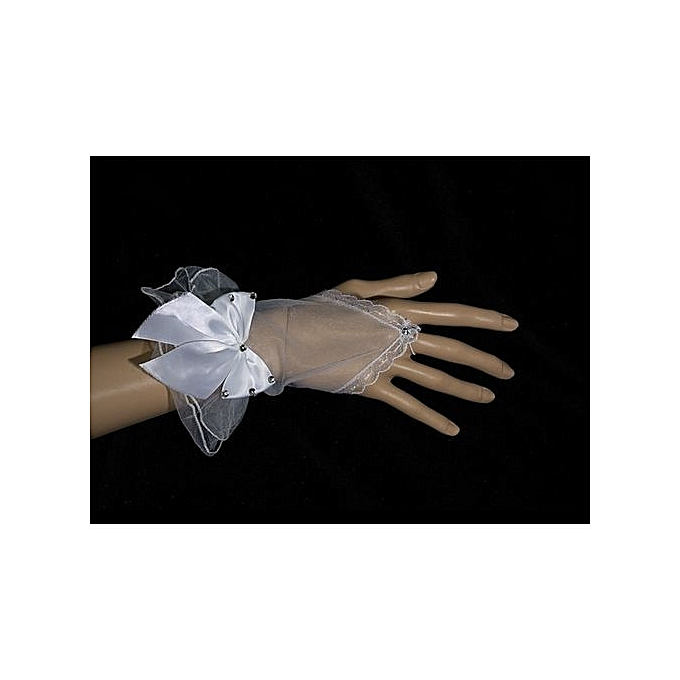Generic White Gauze Gloves With Bow knot Vintage Lace Wrist Short Finger Length Kids Wedding Gloves
