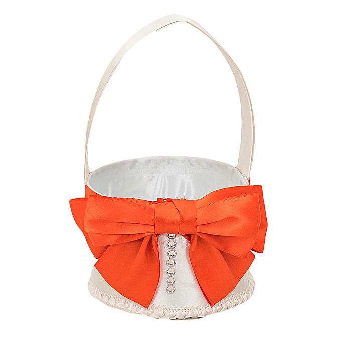 Generic White & Orange Russet Matte Satin Flower Girls' Basket