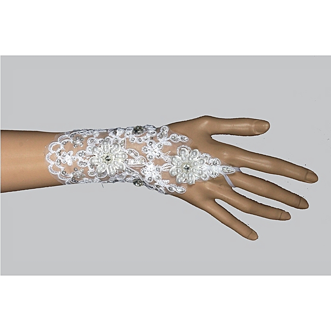 Generic Elegant White Lace Beaded Wrist Length Finger less Wedding Gloves