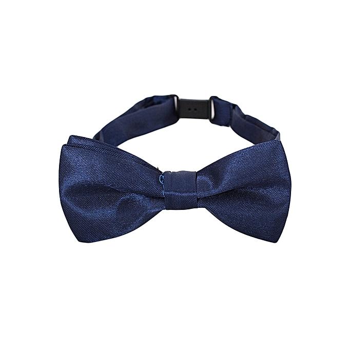 Generic Navy Blue Satin Adjustable Bow Tie