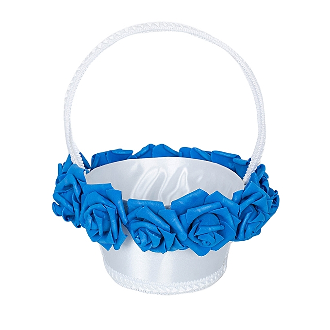 Generic White And Blue Royal rose Wedding Flower Girl Basket