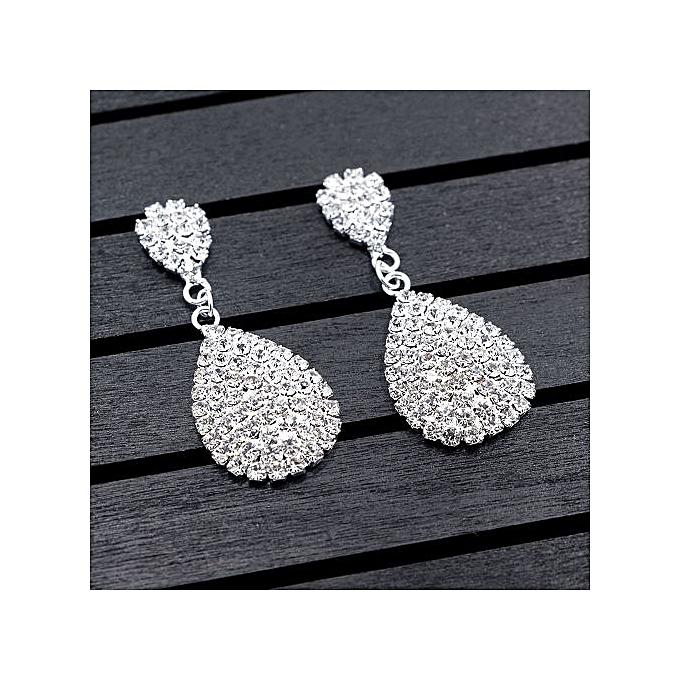 Generic Silver Color Fashion Bridal Water drop Dangle Earrings Full Crystal Stud Earrings For Women Wedding Jewelry