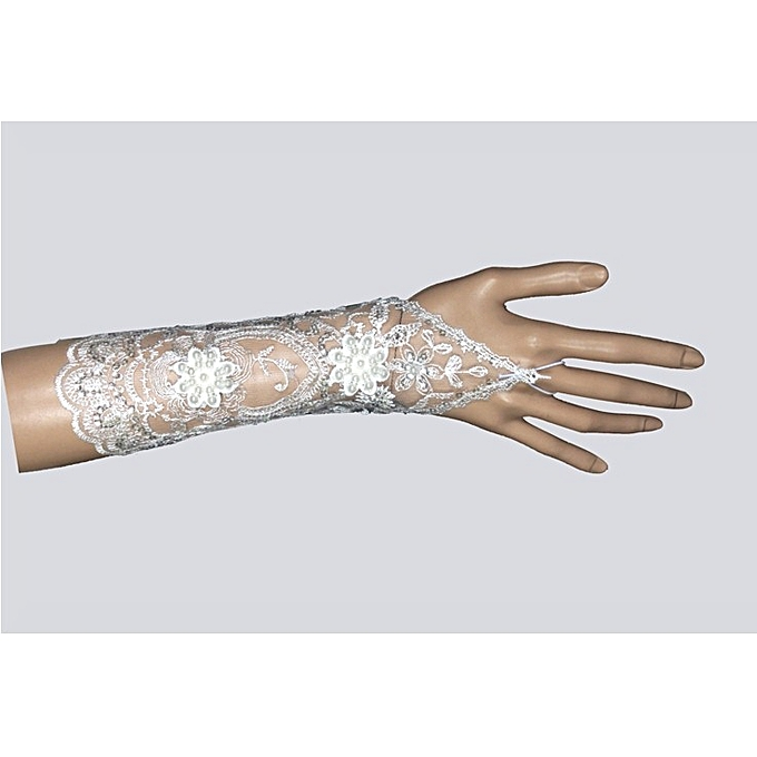 Generic Elegant Ivory Lace Beaded Wrist Length Fingerless Wedding Gloves
