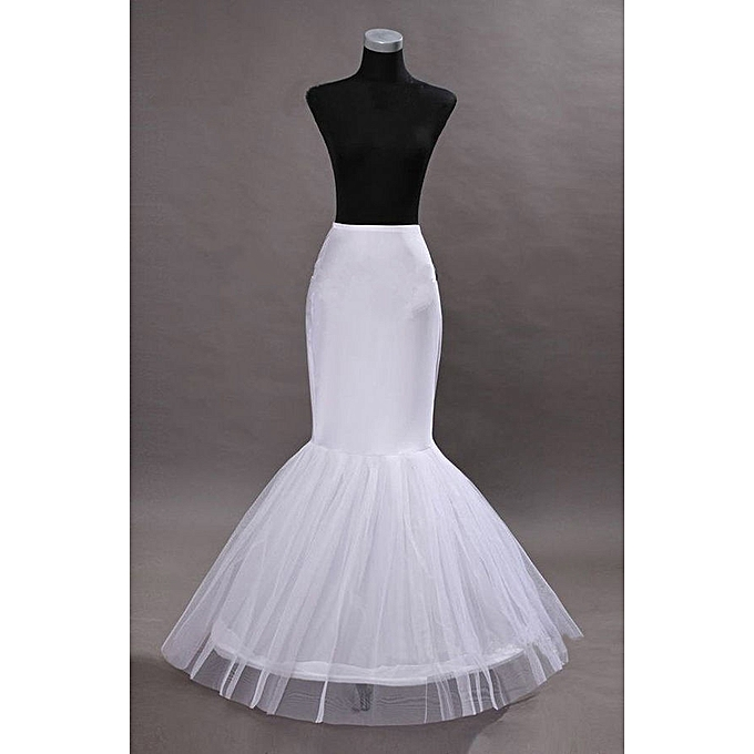 Generic White 1 Hoop Wire Mermaid Skirt Under Wire Petticoat Slips For Gown