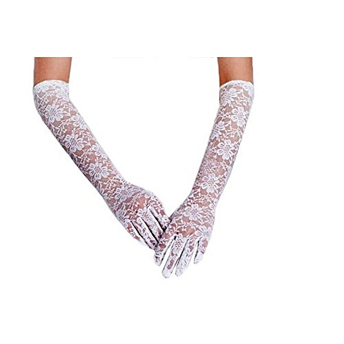 Generic White Women Long Elegant Vintage Lace Elbow Length Full Finger Bridal Wedding Evening Party Prom Gloves Accessories