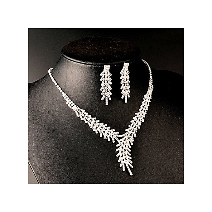 Generic Silver Rhinestone Bridal Jewelry Wedding Necklace Earring Crystal Necklace Set