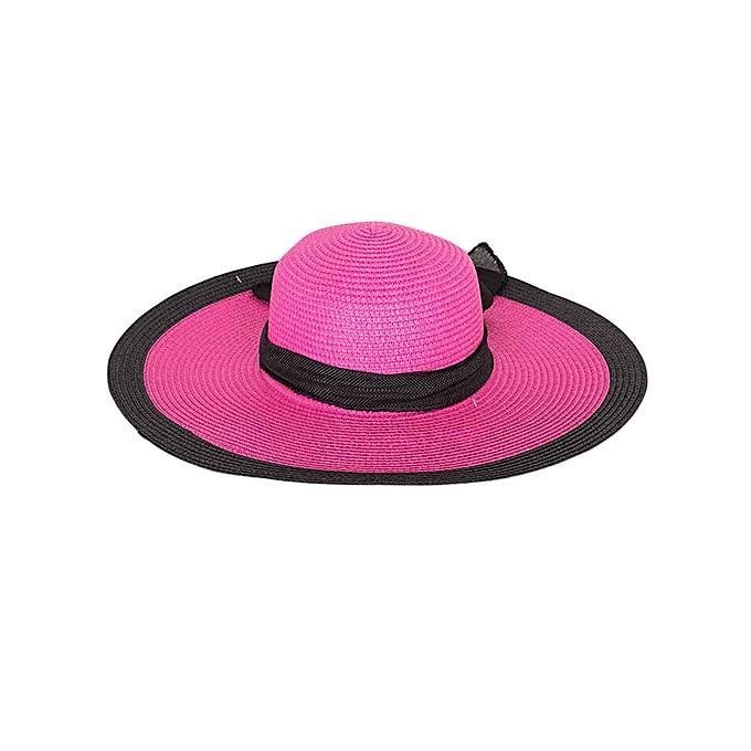 Generic Pink Floppy Wide Brim Ladies Women Sun Hat With A Black Trim
