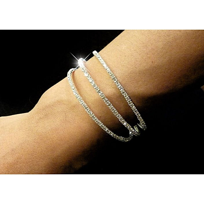 Generic 3 Line Silver Plated Sprung Diamante Bling Bracelet, Small Stone Jewelry Bangle Wedding Jewelry