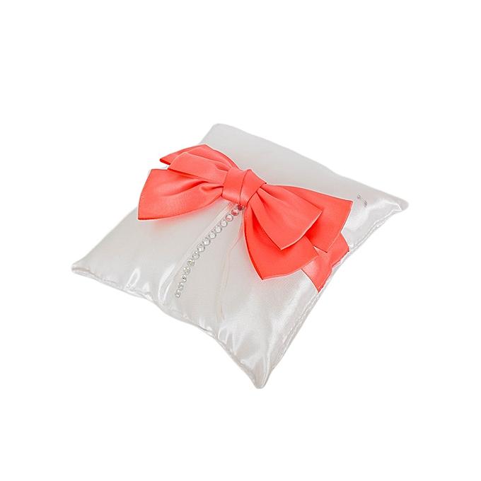 Generic White With A Coral Ribbon Matt Satin Wedding Ring Cushion