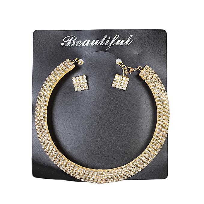 Generic Gold 5 Row Rhinestone Collar Choker Set With Earrings