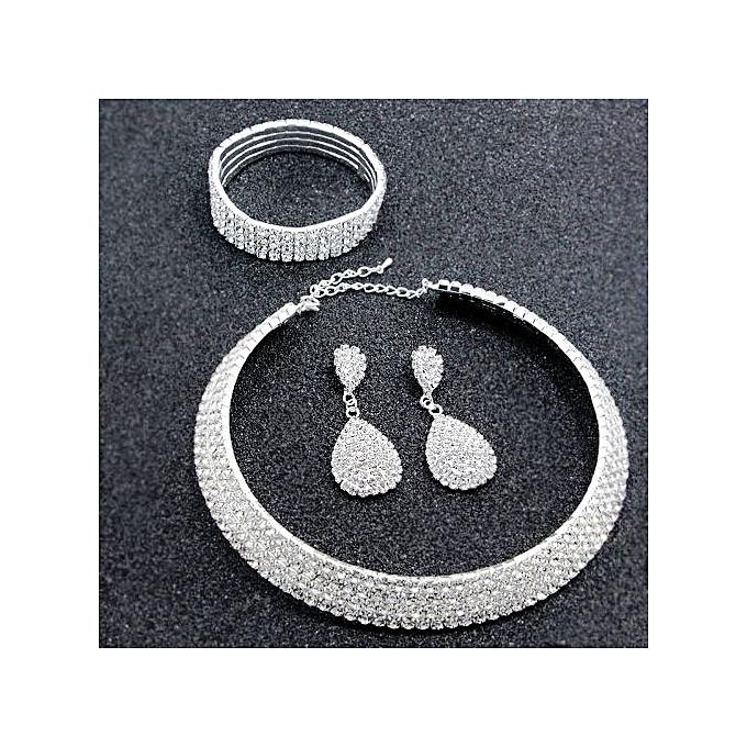 Generic Silver Women Rhinestone Crystal Choker Necklace+Earrings+Bracelet Set Wedding Jewelry