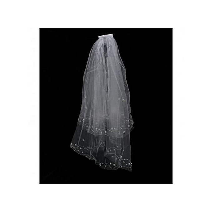 Generic White Ivory Two Layer Wedding Veil With Sparkling Sequins Seed Beads Edge Waist Length Wedding Veil Two-tier Fingertip Veils Cut Edge crystal beads