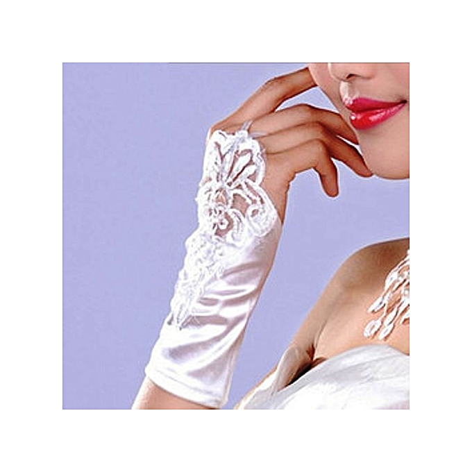Generic White Lace Finger-less Wedding Bridal Wrist length Gloves With Pearl beads