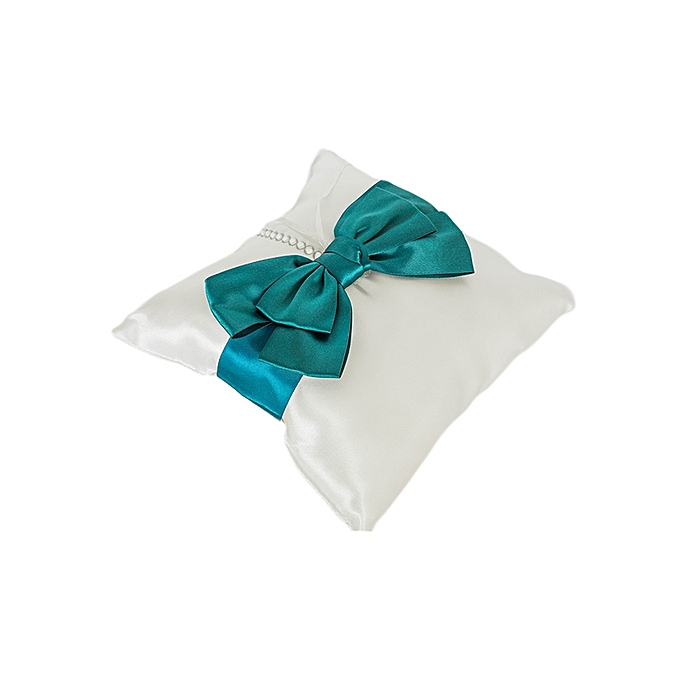 Generic White With A Teal Blue Ribbon Matt Satin Wedding Ring Cushion