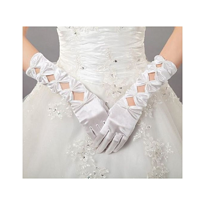 Generic White Women's Bridal Long Satin Length Full Finger Bridal Wedding Evening Party Prom,Opera , Gloves Accessories Banquet Party