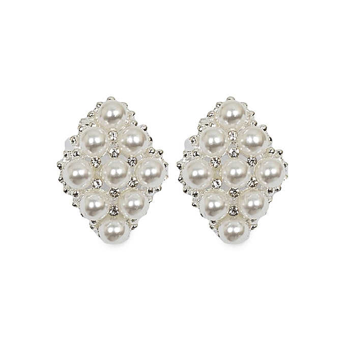 Generic Silver With Pearls Bridal Earrings