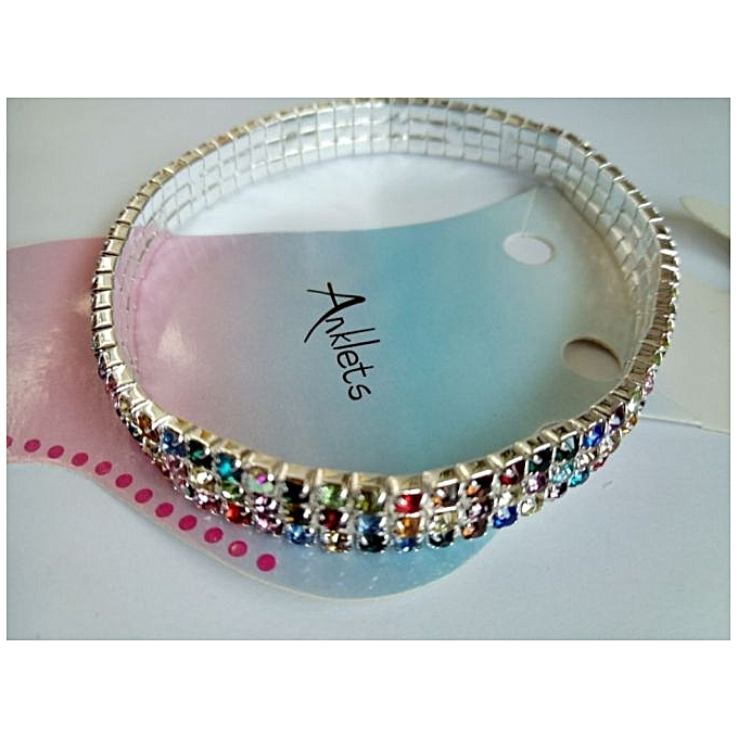 Generic 3-Row Crystal Clear Multi Colored Chain Anklet Stretch Rhinestone Bracelet Foot Leg Anklet Bracelet