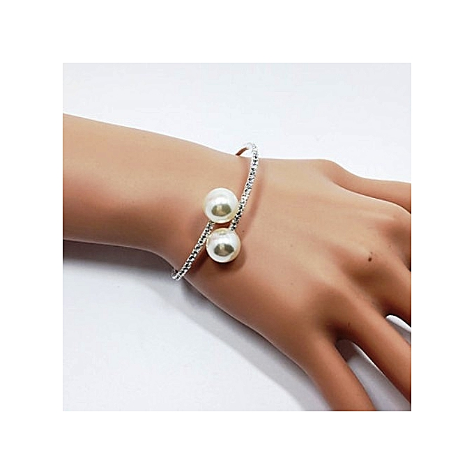 Generic 1 Line Silver & Pearl Bling Bracelet, Small Stone Jewelry Bangle Wedding Jewelry
