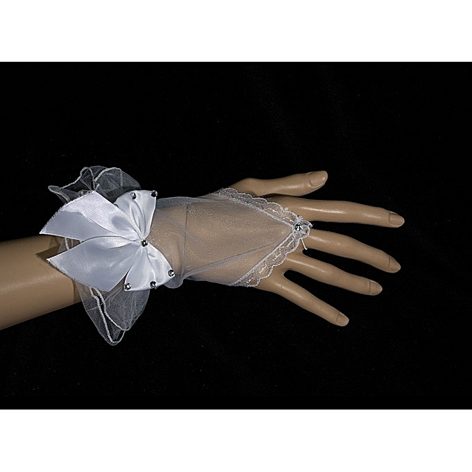 Generic White Gauze Gloves With Bow knot Vintage Lace Wrist Short Finger Length Women Bridal Wedding Gloves