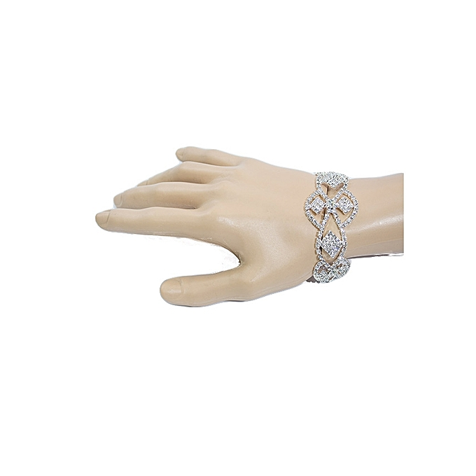 Generic Classic Crystal Bridal Silver Woven Bracelet