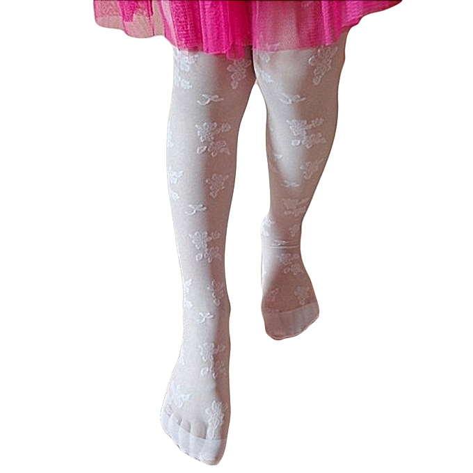 Generic White Girls Wedding Elegant Stockings Tights Leggings Pantyhose Ballet Dance Socks Children Girl Kid Children Dance Embroidery Sheer Stockings Pantyhose Tights Patterned