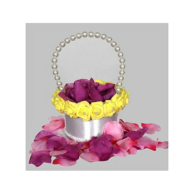 Generic Wedding Flower Girl Basket Pearl Handle and Foam Soft Roses Flowers
