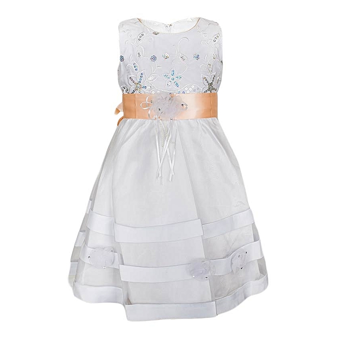 Generic White Girls' Dress With A Peach Petal Ribbon Belt