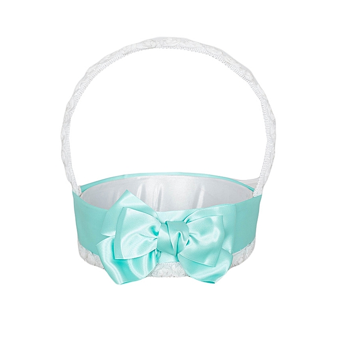 Generic White And Green Aqua Bow Matt Satin Flower Girls' Basket