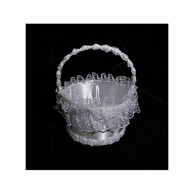 Generic White With Lace Deco Flower Girls Basket