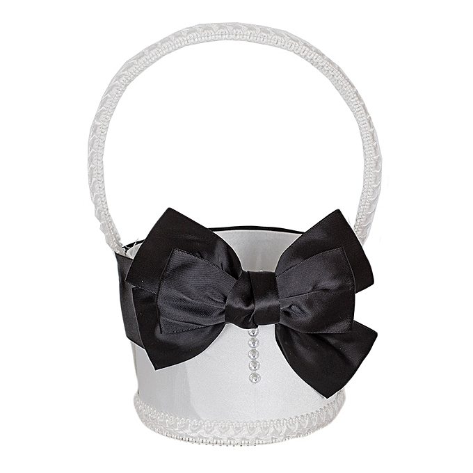 Generic White And Black Bow Matt Satin Flower Girls' Basket