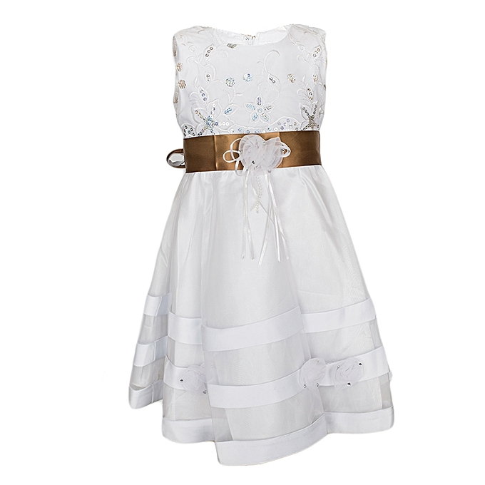 Generic White Girls' Dress With A Turftan Brown Ribbon Belt