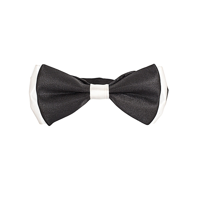 Generic Black And White Matt Satin Boys' Bow Tie