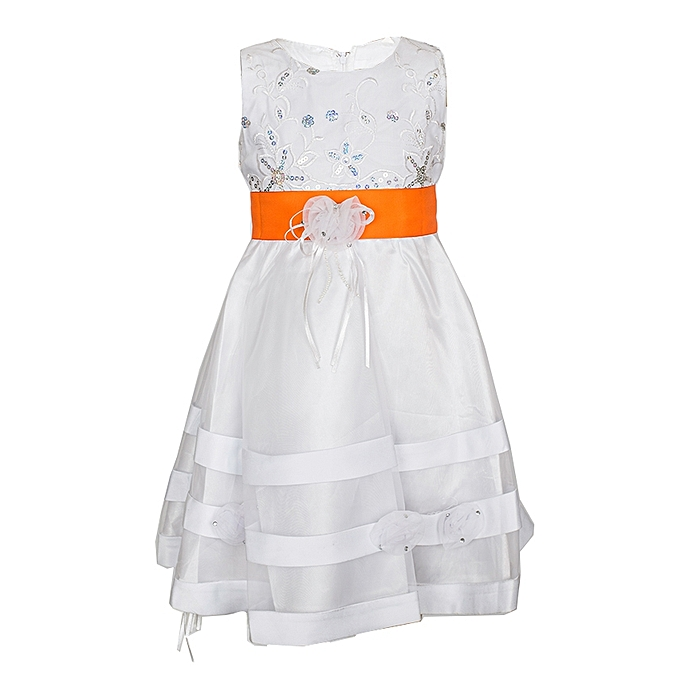 Generic White Girls' Dress With A Russet Orange Ribbon Belt
