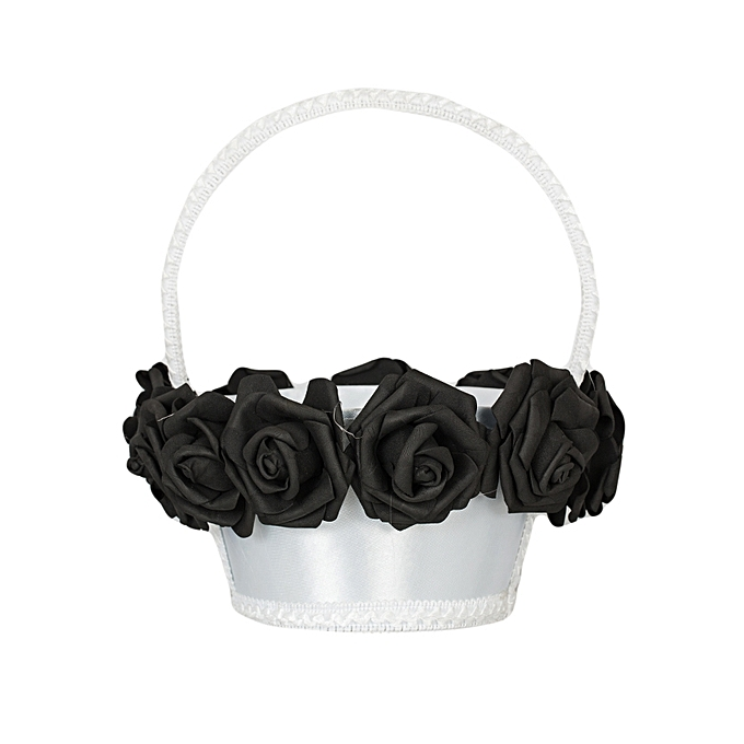 Generic Black Rose Flower Girl Wedding White Basket