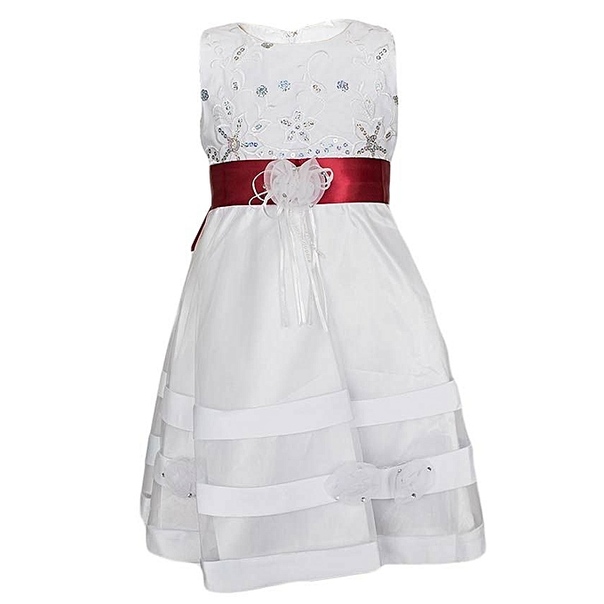 Generic White Girls' Dress With A Sherry Maroon Ribbon Belt