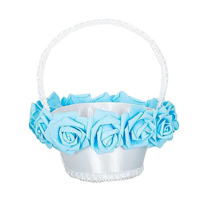 Generic White & Blue Topaz Flower Girls Basket