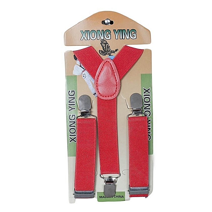 Generic Red Kids Boy Girls Toddler Clip-on Suspenders Elastic Adjustable Braces