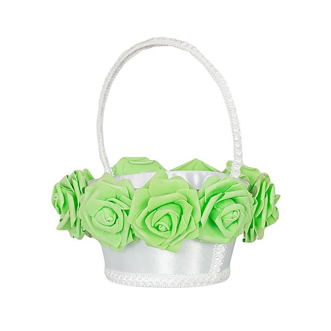 Generic Green Mint Rose Flower Girl Wedding White Basket